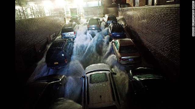 Rising water rushes into a parking garage on October 29, 2012 in New York City.
