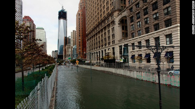 The Hugh L. Carey (Brooklyn-Battery) Tunnel in New York City sits flooded after a tidal surge on October 30, 2012.