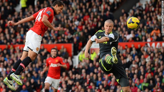 Heading in the right direction? Javier Hernandez scores Manchester United's winner against Stoke City.