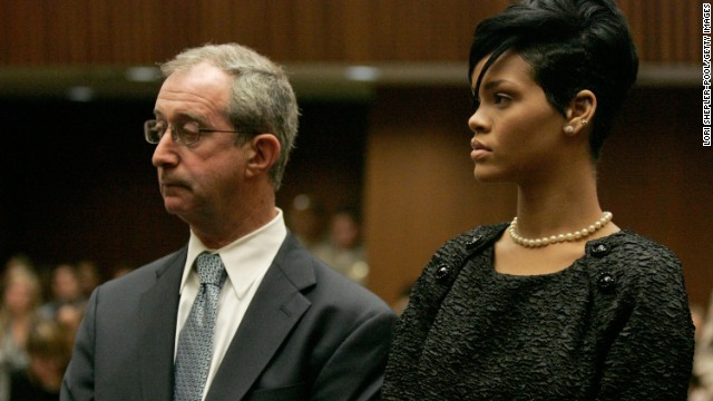 <strong>June 2009: </strong>The judge asked Rihanna to appear in court to hear <a href='http://www.cnn.com/2009/SHOWBIZ/Music/06/22/chris.brown.hearing/index.html'>details of the order requiring Brown to stay 50 yards away from her</a> -- 10 yards if the two appeared at the same industry event together. Here she appears with her attorney, Donald Etra.