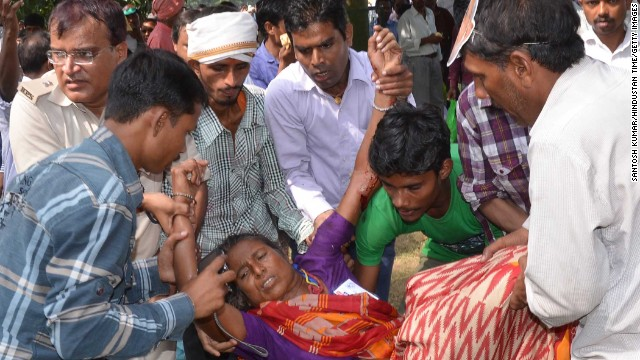 An injured victim after six serial bomb blasts took place at a political rally in Patna, India on October 27, 2013.