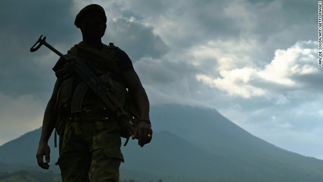 A soldier from the Democratic Republic of Congo army stands guard last month in Kibati near Goma -- an area known for clashes between Congolese forces and M23 rebels.