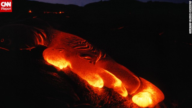 Lava flows down the surface of Kilauea volcano on Hawaii's Big Island.