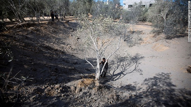 The aftermath of an Israeli air strike on October 28, 2013 in Beit Lahia in northern Gaza.