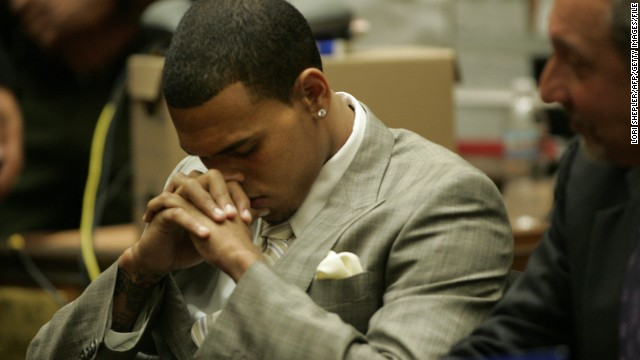 "<strong>June 2009: </strong><a href='http://www.cnn.com/2009/SHOWBIZ/Music/06/22/chris.brown.hearing/index.html'>Brown agreed to plead guilty to a felony assault charge</a> in the Rihanna beating at a June 22 hearing. The plea deal included five years' probation, 1,400 hours of ""labor-oriented service"" and a yearlong domestic-violence counseling program."