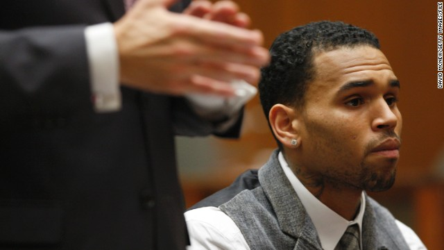 "<strong>September 2012: </strong><a href='http://www.cnn.com/2012/09/25/showbiz/chris-brown-probation-marijuana/index.html'>Brown's streak of glowing probation reports</a> came to an end on September 5 when the judge lectured him for testing positive for marijuana use in Virginia. The drug test failure did not result in a probation violation, although pot is illegal in Virginia. Brown told authorities he ingested the marijuana in California, where he has a medical marijuana card, according to the judge. Rihanna tweeted to Brown: ""I'm praying for you and wishing u the best today!"" Brown responded, ""Thank u so much."" Here Brown appears in court in September 2013."