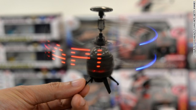 Japanese toy maker Kyosho has developed an infrared controlled drone 'Neon Messenger', which can display LED messages while flying.