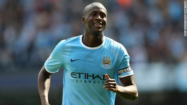 Manchester City's Yaya Toure has scored 13 goals for the English club this season.