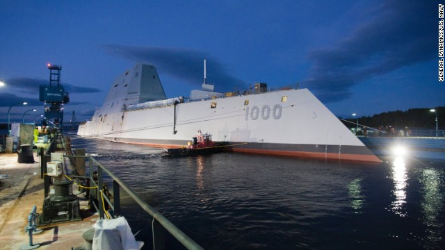 The USS Zumwalt, the U.S. Navy's newest warship, floats out of dry dock Monday, October 28, in Bath, Maine. The first of the new DDG-1000 class of destroyers, it will be the Navy's largest stealthy ship when it begins missions.