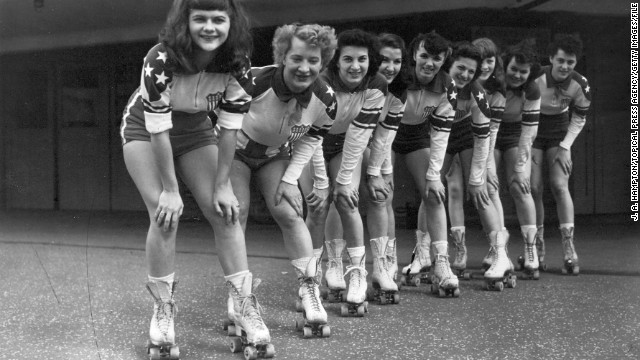 It first took off as a competitive sport in the United States in the 1930s. Here, women from the New York Chiefs before a roller derby between America and Europe in May 1953.