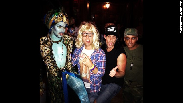 "<a href='http://instagram.com/p/f8Oe4gRsca/' target='_blank'>Lance Bass rounded up some outrageously dressed friends</a> to rock out at a Halloween bash as Garth from ""Wayne's World."""