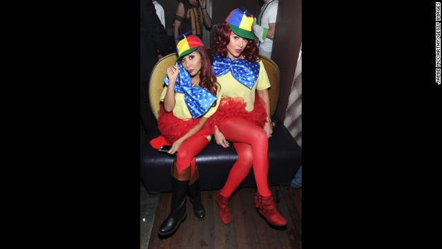 """Jersey Shore"" BFFs Jennie ""JWoww"" Farley and Nicole ""Snooki"" Polizzi at least have a sense of humor about their misadventures. The pair went as Tweedledee and Tweedledum to an October 25 Halloween shindig."
