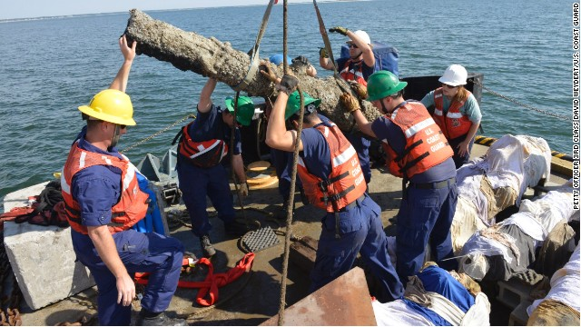 The Coast Guard worked to recover cannons from the Queen Anne's Revenge in Beaufort Inlet, North Carolina, on Monday.