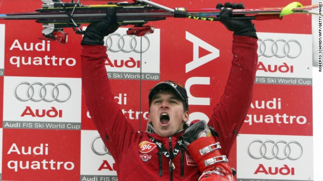 Matthias Lanzinger celebrates the best result of his skiing career, a podium finish at the Super-G in Beaver Creek, Colorado, back in December 2005.