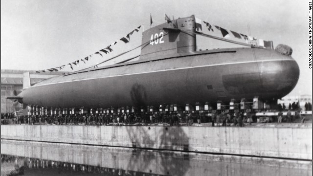 China's Long March 2 nuclear submarine is seen during a launch ceremony in 1977.