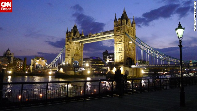 London's <a href='http://ireport.cnn.com/docs/DOC-984109'>Tower Bridge</a> glows at twilight. Vanessa Reyes shot this photo just before having her first-ever Guinness in a nearby pub.