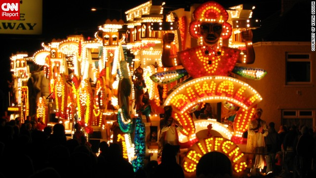 "This spectacular Diwali themed float illuminated the British town of North Petherton during the annual Guy Fawkes celebrations. It is part of the <a href='http://ireport.cnn.com/docs/DOC-1046194' target='_blank'>Bridgwater Carnival</a>, which is one of the largest illuminated carnivals in Europe. ""The carts have been limited to the total length, height and width to make sure they fit down our narrow roads. They can have up to 10,000 light bulbs on them. It is free to attend but people collect money which is then distributed among the local charities,"" said Keith Gough, 46, who took this photo."