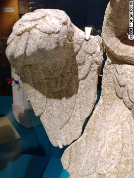 The limestone statue -- which has been dated to the first or second century -- is in a remarkable state of preservation, its feathers still clearly visible.