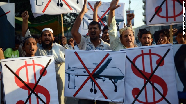 Anti-U.S. protesters in Karachi on October 23 demonstrate against U.S. drone attacks in the Pakistani tribal region.