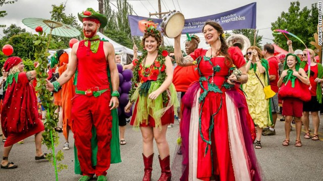 The annual Tomato Art Fest in East Nashville brings out red attire galore.
