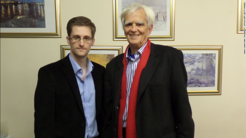 National Security Agency leaker Edward Snowden poses with German Green party parliamentarian Hans-Christian Stroebele at an undisclosed location in Moscow on Thursday, October 31. Stroebele's office said it would give details of the meeting on Friday at a news conference in Berlin.