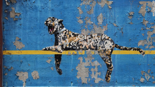 A leopard placed on the wall of Yankee Stadium was revealed on October 30.