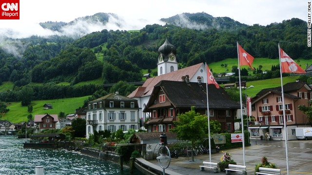 """Imposing mountains tower over charming villages that dot the various arms of the lake,"" said Shelley Seale, who shot this photo while on a boat crossing <a href='http://ireport.cnn.com/docs/DOC-1040120'>Lake Lucerne</a>."