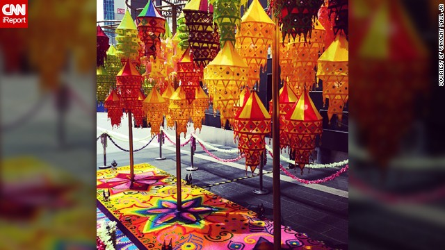 "The vibrant colors of the Diwali lanterns and a rangoli was captured by avid <a href='http://instagram.com/parwandra' target='_blank'>Instagrammer Vincent Paul JR</a> a few days ago during his lunch break at a shopping mall in Kuala Lumpur, Malaysia. The 27-year-old, who teaches English at the local university, was raised as a Catholic but converted to Hinduism a few years ago. ""The lamps comply to the Hindu belief that light is a form of the divine. Rangoli is a symbol of welcome, Indians drew them on their doorsteps to invite all sorts good energy into their homes during special occasions. The rangoli is made out of edible colored rice which serves the purpose of feeding inferior beings such as rats, pigeons and ants as a form of good deed (Dharma) in the Hindu tradition,"" he said."
