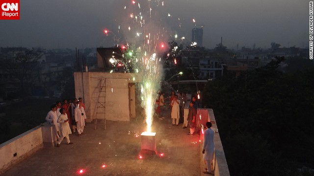 "Last year Devender Kumar and his colleagues decided to celebrate Diwali on the rooftop of their office building in <a href='http://ireport.cnn.com/docs/DOC-1044761' target='_blank'>Uttar Pradesh, India</a>. ""This year I will celebrate Diwali with my family and friends, starting with puja (a religious ritual), and lighting lamps all around as Diwali is festivals of lights,"" said the 28-year-old."