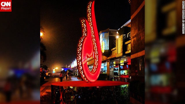 "Malliqa Luthra decided to take this photo of a <a href='http://instagram.com/malliqa' target='_blank'>giant Diya symbol</a> in her hometown of New Delhi, India. ""I took it at Select Citywalk, a mall in New Delhi which was decorated beautifully for the festival season. The Diya is a symbol of light and thus prosperity during this auspicious festival of Diwal in India,"" said the 26-year-old."