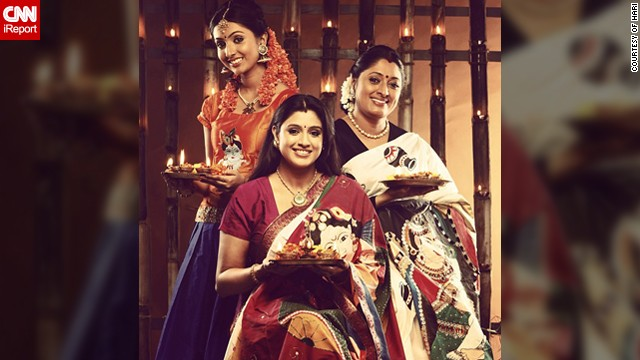 "This Diwali family portrait features Uttharaa Unni (left), her sister Samyuktha Varma and their mother Urmila Unni. ""The three of us <a href='http://instagram.com/uttharaaunni' target='_blank'>work in Indian films as actors</a>. Celebrations have always been a part of our day to day life and Diwali has been important to us since our childhood,"" said the 21-year-old Bollywood actress."