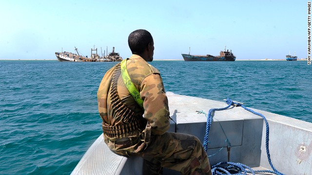 A Somali coastguard patrols the waters off the country, where piracy has flourished.