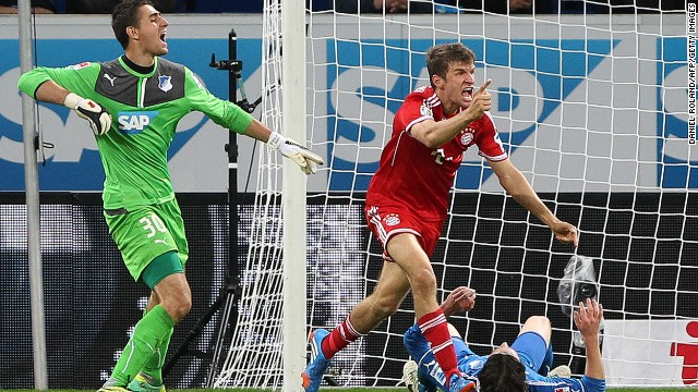 Bayern Munich's Thomas Muller celebrates after scoring the winner away to Hoffenheim on Saturday.
