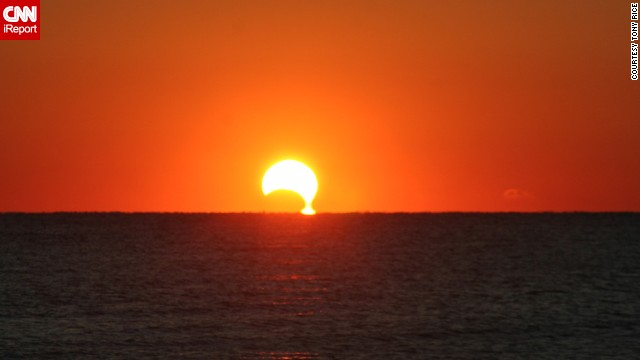<a href='http://rtphokie.smugmug.com/' target='_blank'>Tony Rice </a>photographed the eclipse, which he described as a dripping sun, from Myrtle, South Carolina.