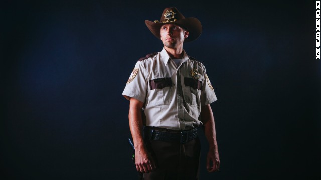 "Zombie fans gathered by the thousands at the first-ever Walker Stalker Con, which celebrated the ""The Walking Dead"" and all things horror this past weekend in Atlanta. In this photo, Forrest Ainsworth, from Canton, Georgia, dresses as Rick Grimes from the popular television series ""The Walking Dead."""
