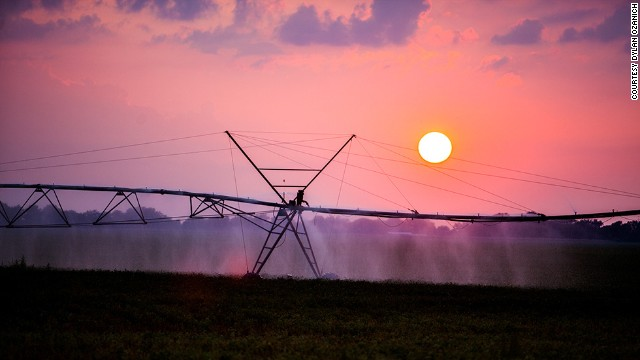Photographer Dylan Ozanich caught the beauty of daily life across the country, including this sunset over an evening watering of the crops along Highway 60 in the Mississippi Delta.