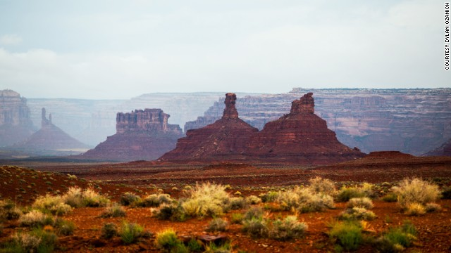 The three riders saved the American Southwest for the last part of their journey, where they were buffeted by storms. Here, in a clear moment, is the Valley of the Gods in southeastern Utah, near Monument Valley.