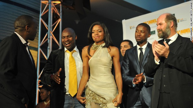 "Harris, who recently starred in ""Skyfall,"" also attended the Johannesburg premiere Sunday."