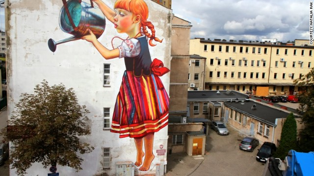 "Natalia Rak's ""The Legend of the Giants"", painted as part of the Bialystok ""Folk on the Street Festival 2013""."