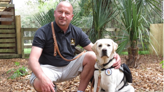 Former Army Spc. Karl Fleming rarely ventured outside before he got Kuchar, a service dog trained to help soldiers.
