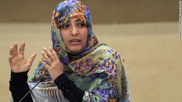 Yemeni journalist and activist Tawakkol Karman delivers a speech in Strasbourg, on October 08, 2012.