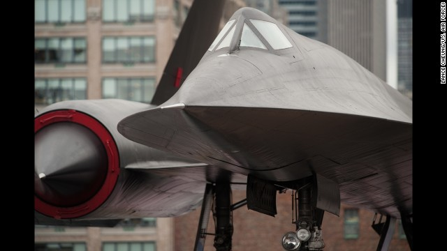 An A-12 reconnaissance aircraft, the predecessor to the SR-71, is seen on display at the Intrepid Sea, Air and Space Museum in New York City in August 2010.