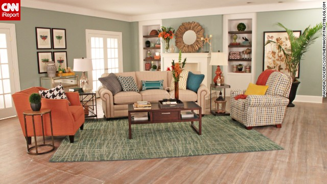 "Lifestyle <a href='http://southernhospitalityblog.com/' target='_blank'>blogger Rhoda Vickers </a>of Atlanta used a spectrum of orange to create this living space for a design contest: ""I wanted to design a fun and fresh room with lots of color."""