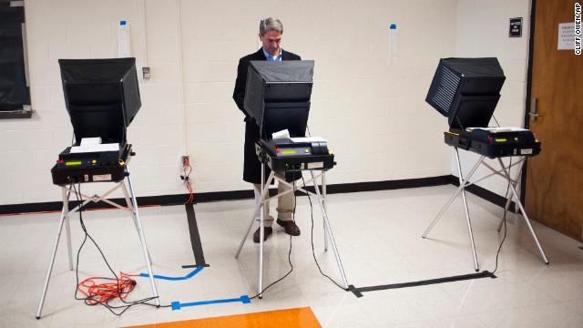Virginia Attorney General Ken Cuccinelli, a Republican gubernatorial candidate, votes in Nokesville, Virginia.
