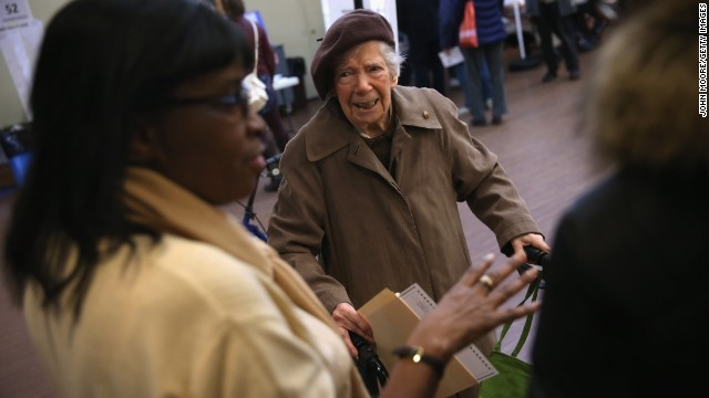 A voter asks for assistance at a polling station in Brooklyn.