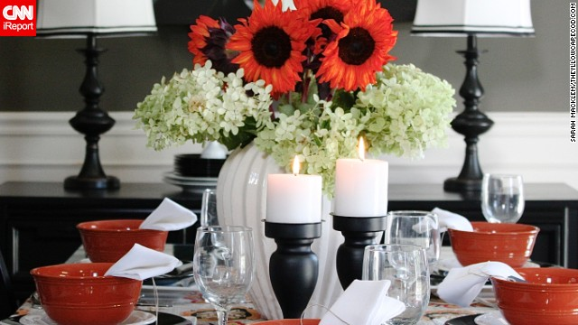 <a href='http://www.theyellowcapecod.com/' target='_blank'>Interior design blogger Sarah Macklem</a> also likes to add flowers to a room for a touch of orange.