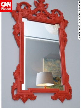 This mirror was inspired by <a href='http://cuckoo4design.blogspot.com' target='_blank'>blogger Julia Konya'</a>s husband's love for orange. The frame adds a distinct border and color.