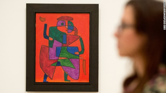 """The Man of the Future"" by Swiss artist Paul Klee at Tate Modern in London, on October 14, 2013. As a member of the pioneering Bauhaus movement, Klee's work was pilloried by Hitler and the Nazis, and he lost his job as an art teacher in Germany."