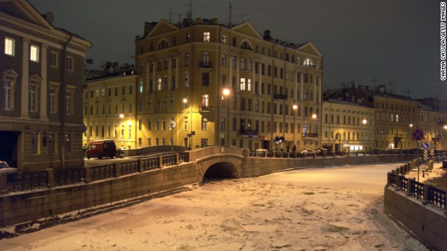 Thick ice covers a canal in St. Petersburg. Much of the water surrounding the city freezes over during the winter months meaning far less marine traffic.