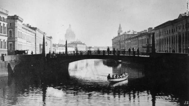 A picture of a St. Petersburg bridge in 1860. The city was designed during the reign of Peter the Great, taking inspiration from the likes of Amsterdam and Venice.